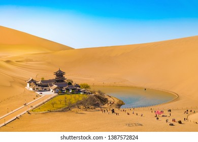Crescent Moon Spring and the Mingsha Moutain in Dunhuang