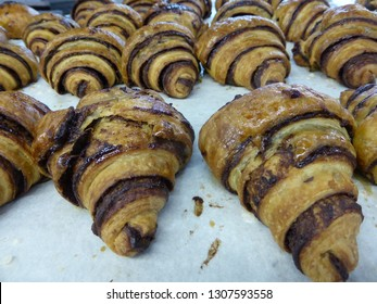 Crescent-Shaped Chocolate Rugelach Pastry