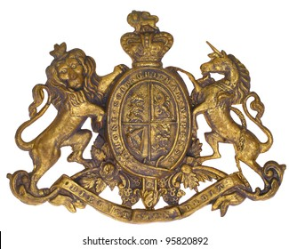 "Crest Coat of Arms, UK of Great Britain & N. Ireland, British Royal, Lion & Unicorn, French ""dieu et mon droit"" (God & my Right) ""Honi soit qui mal y pense"" (Shamed be he who thinks evil of it) 1837"