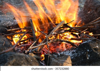 Crest of flame on burning wood in fireplace.