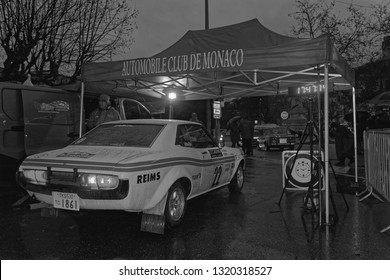 CREST, FRANCE, February 2, 2019 : A checkpoint for competitors in Crest. Rallye Historique is reserved to those cars which have participated in the Rallye Automobile Monte-Carlo before 1980.