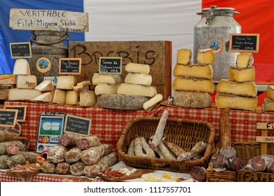 CREST, FRANCE, June 19, 2018 : Food on the street market of the city of Crest.