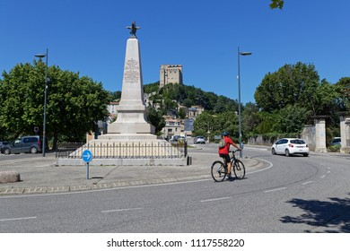 CREST, FRANCE, June 19, 2018 : War memorial and the tower in the city of Crest.