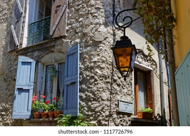 CREST, FRANCE, June 19, 2018 : Old street house in the city of Crest, in Drome region