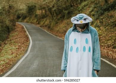 crestfallen child dressed up as outdoor