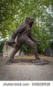 Creston, BC, Canada, Sept. 13, 2017 - The popular Kokanee sasquatch statue titled BEER RUN by artist Karl Lansing stands out-front of the Columbia Brewery which offers public tours and beer tastings.