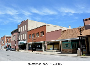 Creston, Iowa-July 1st, 2016: View of a section of downtown Creston, Iowa.