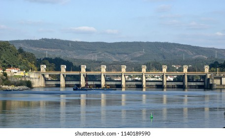 Crestuma Dam on the Douro River in Portugal