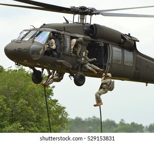 Crestview, Florida, USA - May 7, 2011: A Sikorsky UH-60 Blackhawk operated by the Army Rangers during a fast-rope/air assault exercise.