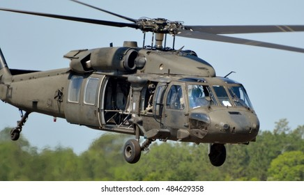 Crestview, Florida, USA - May 9, 2015. A Sikorsky UH-60 Blackhawk operated by the Army Rangers lands on a runway in Florida.