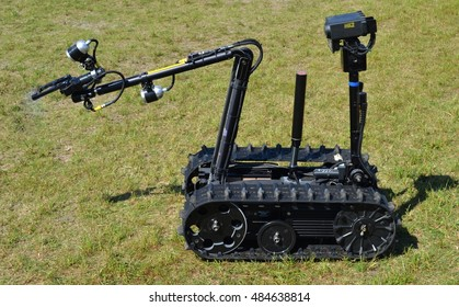 Crestview, USA - May 5, 2015: Foster-Miller TALON 4 Bomb Disposal Robot. This robot is used by U.S. Army Special Forces teams for remote-controlled explosive ordnance disposal.