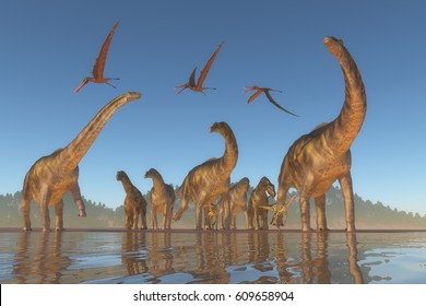 Cretaceous Argentinosaurus Herd 3d illustration - An Argentinosaurus and Deinocheirus herd gets upset when a flock of Anhanguera reptiles fly to close to them.