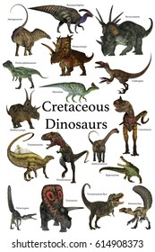 Cretaceous Dinosaurs 3d illustration - A collection of various dinosaurs and reptiles that lived in the Cretaceous Period of Earth's history.