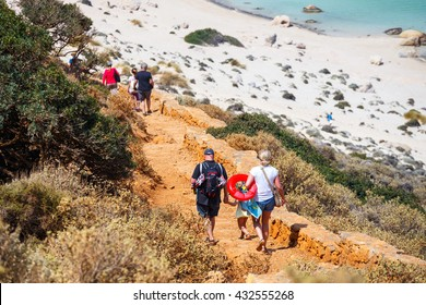 Crete, Greece - 24 May, 2016: Unidentified people are coming down to the beach in Balos Lagoon on Crete, Greece