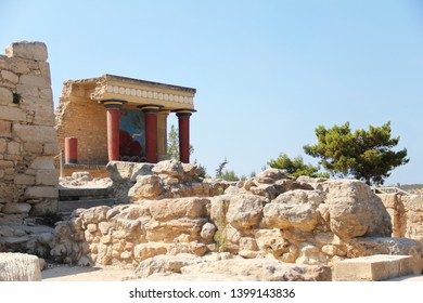 Crete, Greece - August 18, 2013: Knossos palace is the largest bronze age archaeological site on Crete island, Greece. Detail of ancient ruins of famous Minoan palace of Knossos, Minotaur maze