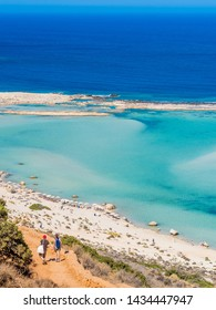 Crete, Greece: Balos lagoon paradisiacal view of beach and sea. Lagoon of Balos is one of the most visited tourist destinations on west coast of Crete.