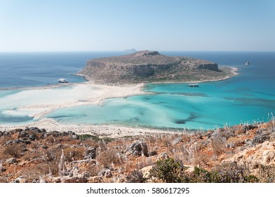 Crete, Greece. The famous lagoon of Balos formed between the Cape Gramvousa and the small Cape Tigani and below the range of Platiskino. Beach and water