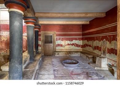 Crete, Greece - January, 2016. Minoan palace of Knossos. The Throne Room.