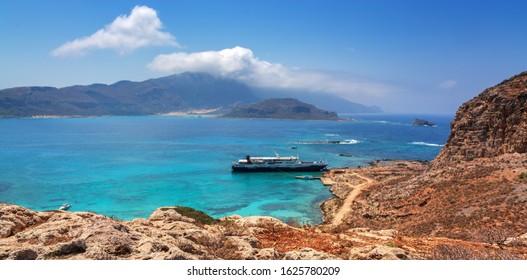 Crete, Greece - July 12, 2018: Excursions Balos beach. The confluence of the three seas.