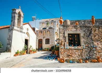 Crete, Greece, June 10, 2017: Traditional cretan village Margarites famous for handmade ceramics, Crete, Greece
