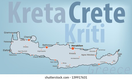 Crete, Greece. Map of the mediterranean island of Crete