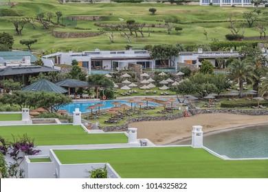 CRETE, GREECE - MAY 17, 2017: A wonderful area for rest: 5 star Elounda Mare Hotel. The Elounda Mare overlooks Mirabello Bay on the north coast of Crete.