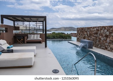 CRETE, GREECE - MAY 17, 2017: Wonderful area of Domes of Elounda - Luxury Hotel in Greece. Domes of Elounda offering suites and villas only, the hotel sets new standards in luxury.