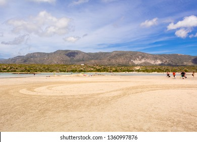 Crete, Greece - May 2, 2015: Picturesque landscape with mountains in the background on Elafonisi beach. Island of Creta, Greece