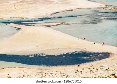 Crete, Greece, May 24, 2016: People relaxing at Balos beach in Crete, Greece. Balos beach is one of the beautiful beach in the Crete island.
