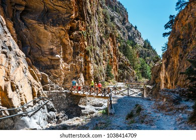 Crete, Greece, May 26, 2016: Tourists hike in Samaria Gorge in central Crete, Greece. The national park is a UNESCO Biosphere Reserve since 1981