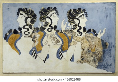 """CRETE, GREECE - MAY 29, 2016: """"Ladies in Blue"""" from the minoan Knossos Palace, 1600-1450 BC. It is the largest archaeological site of all the places in Mediterranean island of Crete."""
