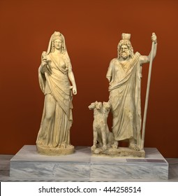 CRETE, GREECE - MAY 29, 2016: Group of statues with Pluto and Persephone depicted as the Egyptian deities Sarapis and Isis, Hellenistic period, Heraklion Archaeological Museum