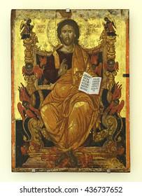 "CRETE, GREECE - MAY 31, 2016: Icon The Christ ""King of glory"" (17th century) of Agia Triada Monastery. It is a Greek Orthodox monastery in the Akrotiri peninsula near the city of Chania."