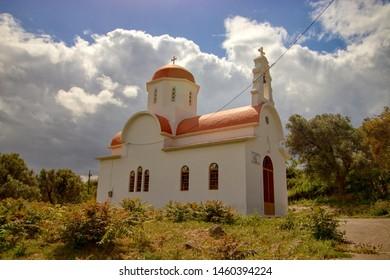 CRETE, GREECE - May 7, 2019: Church in a little village Adele in Crete, Greece
