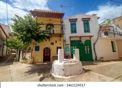 CRETE, GREECE - May 7, 2019: Houses in a little village Adele in Crete, Greece