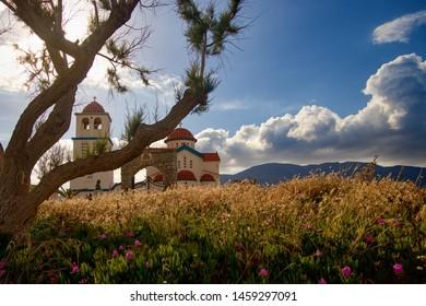 CRETE, GREECE - May 8, 2019:  Church of St. Nicholas in Kissamos, Crete Island, Greece