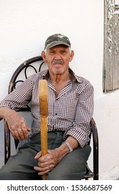 Crete, Greece, old Hersonissos September 5, 2018 old man, local villager
