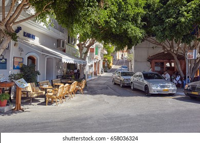 Crete, Greece - September 16: The ancient small street in the center of Agios Nikolaos, Greece on September 16, 2013