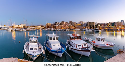Crete Heraklion Greece port harbor boats panoramic view twilight blue hour travelling