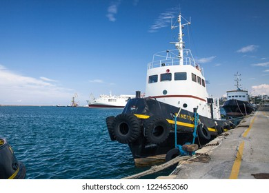 Crete, Heraklion / Greece - September 27, 2018: Ship in the port of Heraklion. A boat on the water on the island of Crete.