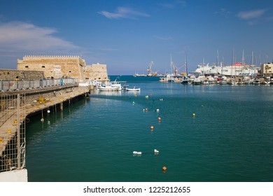 Crete, Heraklion / Greece - September 27, 2018: Seaport in Heraklion. A marina under the Koules fortress.