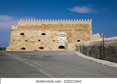Crete, Heraklion / Greece - September 27, 2018: Koules Fortress in Heraklion. Island of Crete in Greece. Koules fortress on the sea, tourist attraction of the city of Heraklion.