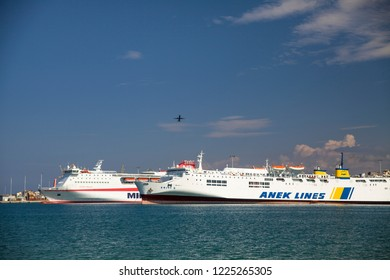 Crete, Heraklion / Greece - September 27, 2018: Huge passenger ship in the port. A cruise ship off the coast of Gracia. Heraklion water port.