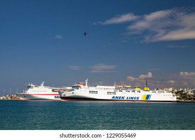 Crete, Heraklion / Greece - September 27, 2018:Huge passenger ship in the port. A cruise ship off the coast of Gracia. Heraklion water port.