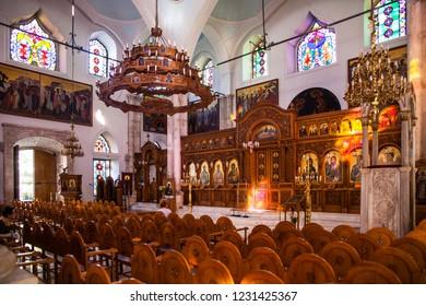 Crete, Heraklion / Greece - September 27, 2018: Interior of the church of Agios Titos in Heraklion Town, Crete.