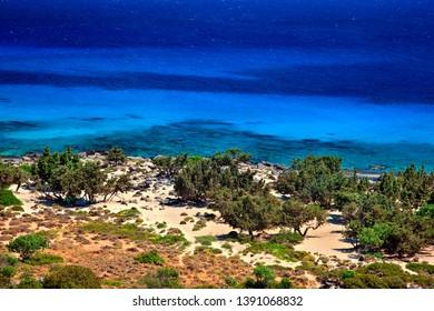 """CRETE ISLAND, GREECE. Kedrodasos (literally """"Cedar forest"""") beach, very close to Elafonisi, southwest Chania."""