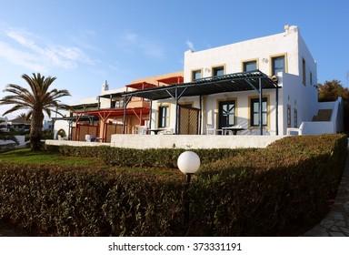 Crete Island, GREECE - MAY 11, 2014: Villa and terrain in high class greek hotel Aldemar Cretan village, Crete island, Greece.