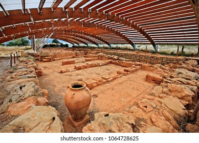 CRETE ISLAND, GREECE- May 23, 2015. At the Archaeological site of Malia (Minoan Palace of Sarpidon), Hersonissos Municipality, Heraklion prefecture.