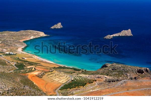 Crete Island Greece One Beaches Xerokambos Stock Photo Edit