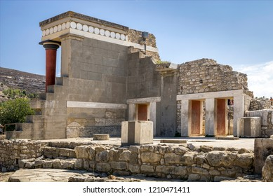 Crete, Knossos / Greece - September 27, 2018: Knossos palace on the island of Crete in Greece. Ancient ruins of the burning part of the Archaeological Museum in Heraklion.